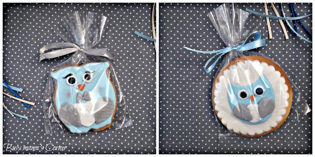 owl boy baptism cookies